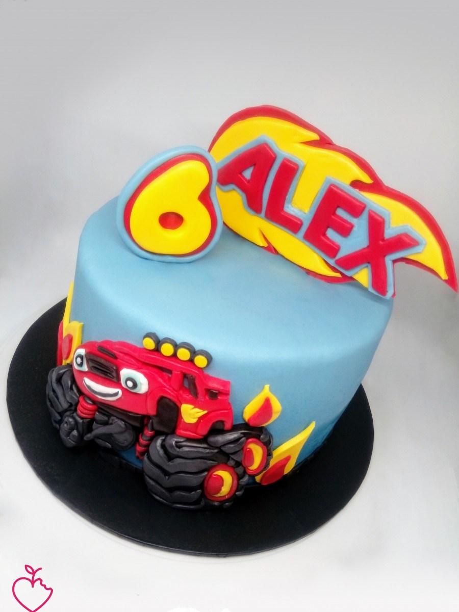 Estremamente Torta di compleanno al cioccolato decorata con Blaze, tanti auguri  ON93